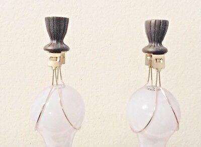FINIALS  PAIR OF FANCY HEAVY ORNATE BRASS LAMP FINIALS w/BULB CLIP ADAPTERS/EASY