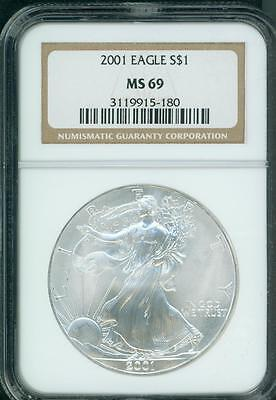 2001 American Silver Eagle S$1 ASE NGC MS69 MS-69 Premium Quality PQ+ !!!