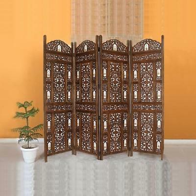 Room Divider,4 Panel, Brown, Reversible, Handcrafted With Tiny Bells, Urban Port