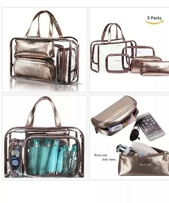 9c5e661e5b2d 5 IN 1 Cosmetic Bag Portable Carry on Travel Toiletry Bag Clear PVC ...