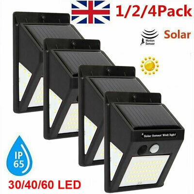 4X 60~30 LED Solar Powered PIR Motion Sensor Wall Security Lights Garden Outdoor