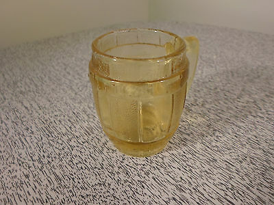 "Beer Mug Barrel Shot Glass Toothpick Holder Amber Colored 2-3/8"" Tall"