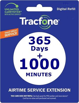 TRACFONE 1 YEAR & 400 Minutes Service PIN # Airtime Plan BYOP