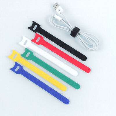 Hook & Loop Cable Ties Organiser Cords 12mm x 150mm 6 Colours Reusable Straps
