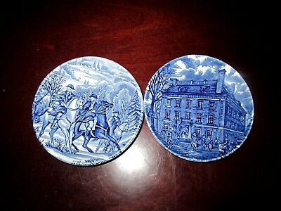 Set of 2 Liberty Blue Historic Colonial Scenes English Staffordshire Mini Plate