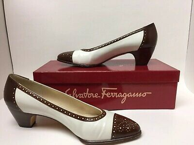 ec9bf3e318ac Womens Salvatore Ferragamo White   Rust Size 7 Med Heels Pumps Cape Toe  Leather