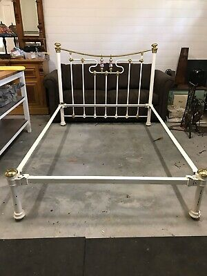 Antique, vintage cast iron and brass double bed frame, painted white