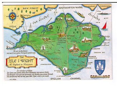 Postcard: Illustrated map of Isle of Wight - All England in Minature