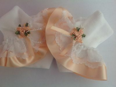 Peach roses baby/girls frilly socks various sizes