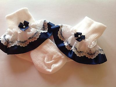 Navy bead bow baby/girls frilly socks various sizes