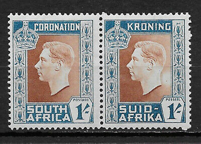 SOUTH AFRICA , GEORGE VI , CORONATION., 1937 , PAIR 1sh STAMPS , MNH , CV$5.00