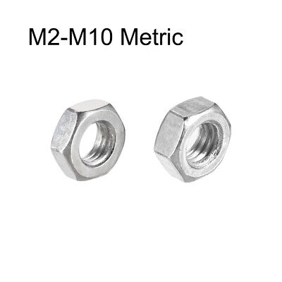 M2-M10 Metric Carbon Steel Hex Screw Nuts Hexagon Nut Locknut Silver Tone