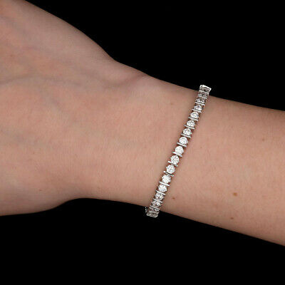5TCW Created Diamond Bar Journey Style Tennis Bracelet Real 925 Sterling Silver