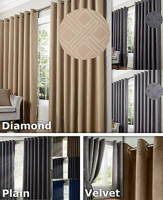 Blackout Eyelet Curtains Thermal Efficient Ring Top Noise Reduction Ready Made