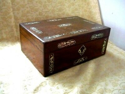 Rosewood Box Intricately Inlaid With Mother Of Pearl / Jewellery Box