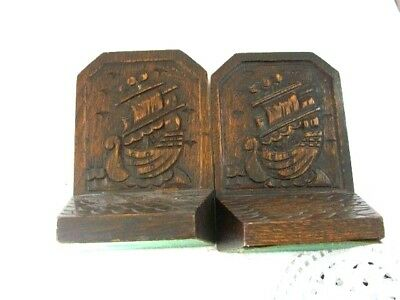 """Pair Of Hand Carved Dark Oak """"Galleon"""" Ship Bookends"""
