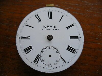 Antique Enamel Pocket Watch Dial Face 44.9 Mm Dia Kays Famous Lever With Back