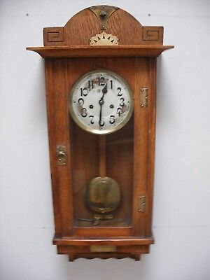 Antique Wall Clock Hamburg American Hac Chimes Hourly Arts And Crafts Vgc