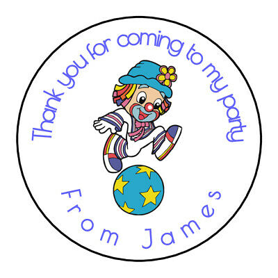 Cute Clown Circus Fun Personalised Stickers Thank You Party Bags 36 24 x 45mm