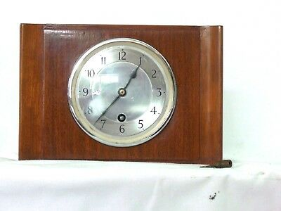 mantle clock 1931 Garrard Walnut cased silvered dial art deco