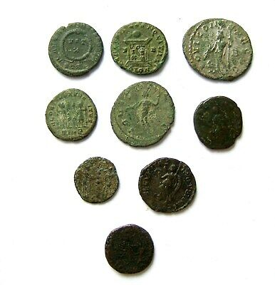 SMALL GROUP OF ROMAN 3rd / 4th CENTURY BRONZE COINS  INCLUDING EUDOXIA