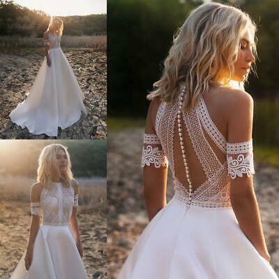 Beach Boho Wedding Dresses Bridal Gowns Lace White Ivory Sleeves Train A Line 108 96 Picclick Uk,Second Hand Wedding Dresses Uk Size 18