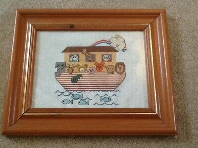 Hand stitched Noah's Ark framed tapestry for baby/ Childs  bedroom.
