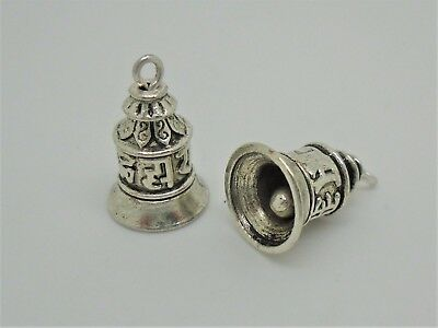 A0864 5 x Bell shaped Zinc Alloy Charm Pendants with connector hanger