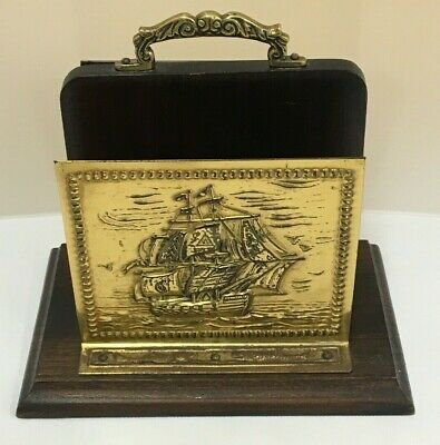 Arts And Crafts Oak And Brass Letter Rack Ship And Fish Detail (D5)