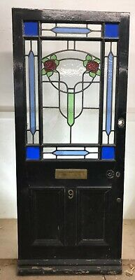 Victorian Stained Glass Front Door Period Old Reclaimed Antique Wood Leaded 1885