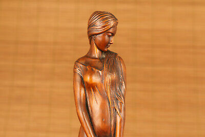 antique big old boxwood hand carved girl statue netsuke collectable home deco