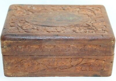 """Antique Wood Tramp Carving Jewelry Box Flower Design 6"""" x 2.5"""""""