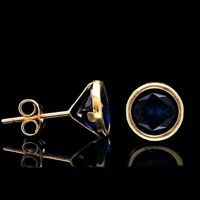 3.00Ct Brilliant Blue Sapphire Bezel Earrings 14k Solid Yellow Gold Round Studs