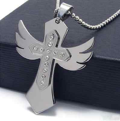 316L Stainless Steel Love angel wing cross with crystal Womens Mens Necklace