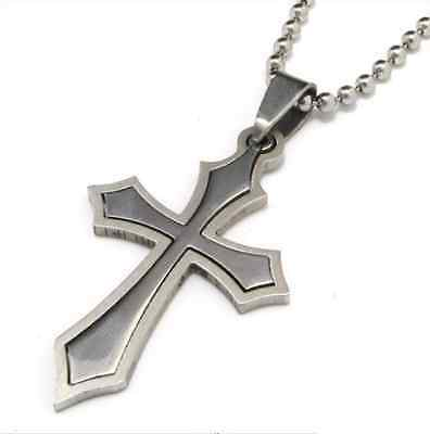 Fashion 316L Stainless Steel  Hollow Poignant Cross Pendant Womens Mens Necklace