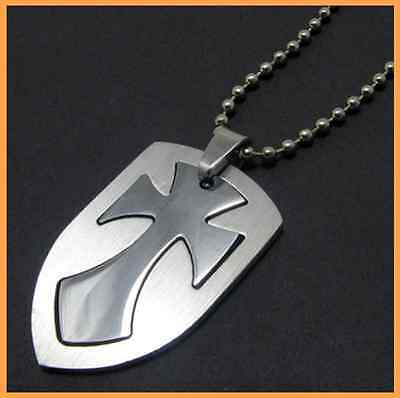 Fashion 316L Stainless Steel  Knight Shield Cross Pendant Womens Mens Necklace