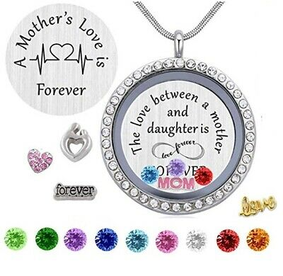 MOTHERS DAY GIFT FOR MOM Wife Heart Love Forever Family Tree Necklace Crystal