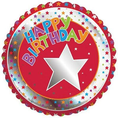 Happy Birthday Red Foil Balloon Coloured Stars 17 inch Party Event Decor