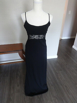 Bebe Black BodyCon Stretch Gown Dress with Lace Midriff Size Large