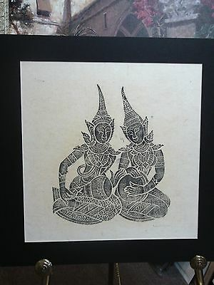 Vintage Thai Temple Rubbing  Rice Paper Charcoal Matted  Thailand Drum