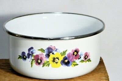 EnamelWare/Bowls/Blue/Black Trim/White/Pansy/Metal Dish/Farm House Chic/ 2