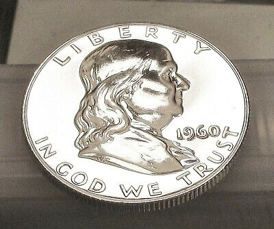 1960  Franklin  Proof   90%  Silver  > Blazing  Mirrored  Surfaces  <  #412  1A