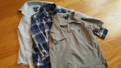 Lot of boys shirts 4 5 Ralph Lauren Polo Chaps Grey Plaid Button Down
