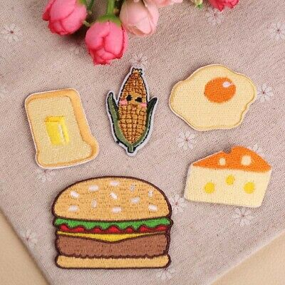 Embroidered Iron On/Sew On Patches Burger Clothes Applique Motif Transfer DIY
