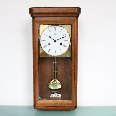 HERMLE German WALL CLOCK CLASSIC DESIGN! 3 Bar Chime! OAK WOOD! Gilded SERVICED