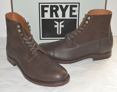New $458 Frye Garrison Combat Boots Brown Pebbled Leather/Suede Cap Toe sz 10