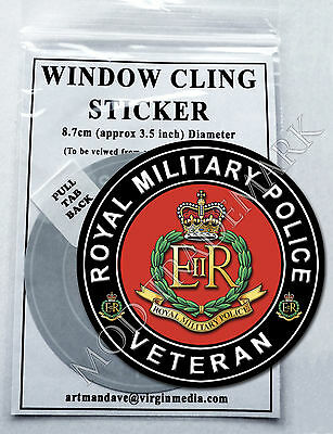 ROYAL MILITARY POLICE, VETERAN WINDOW CLING STICKER  8.7cm Diameter