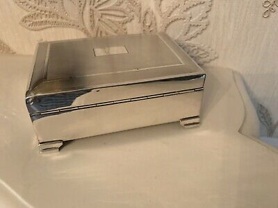 Old Vintage Antique Solid Silver Art Deco Engine Turned Cigarette Box
