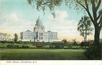 Providence Rhode Island~State House & Well-Coiffed Grounds c1907