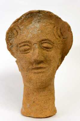 Ancient Etruscan Terracotta Head of a Youth c.6th century BC. Size 9 3/4 inches